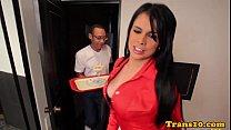 Latina tranny in racy red stockings assfucked