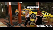 Some 3D recorded game play between auto shop sluts