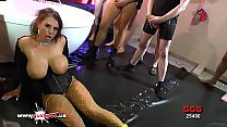 sexy milf with huge tits lost in a sea of cocks   german goo girls