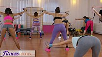 Fitness Rooms Young sweaty gym girls have lesbi...