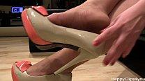 Alisa high heels steps, and nylon footplay