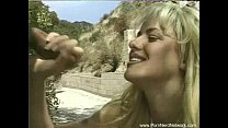 Horny Blonde Housewife Gives Handjob