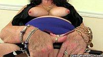 British grannies Zadi and Pearl in stockings wi...