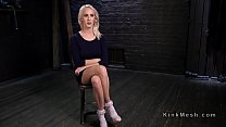 Blonde slave hard flogged and gagged with dildo in bdsm porn videos