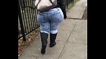 candid pear shaped ssbbw walking in jeans