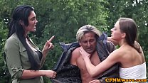 Femdoms jerking cfnm sub outdoors in group thumb