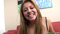 latin cutie gets her shaved pussy fucked hard a...