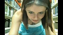 Horny teen masturbates in the library - Pornmak...