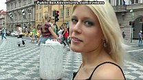 Blonde with perfect body gets naked in public porn videos