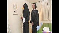 Naughty Nun spreads wide and sucks dick Hitomi ...