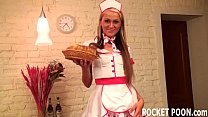 Horny blonde waitress works hard for her tips