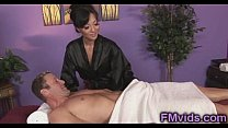Asian hottie Asa Akira sucking cock after massage