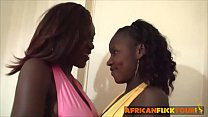 African sluts sharing long white dong in threesome porn videos