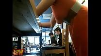 Public red head on  webcam cafe masturbation  -...