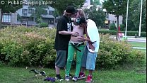 middle of a street public sex threesome with hot blonde teen girl alexis crystal