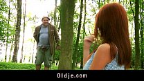 weird old forest man fucks redhead into the woods
