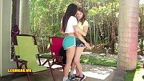 teen friend kissing brunette seductive & Hot