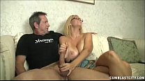 Huge-titted milf enjoys jerking cocks