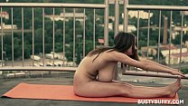 Naked Yoga By Busty Girl