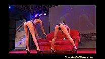 wild lesbian sex on public show stage