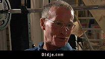 Oldman has his banana peeled by a nasty teeny porn videos