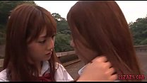 2 Schoolgirls Kissing Petting While Standing Outdoor porn videos