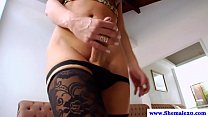 Solo shemale tugs her thick cock in high def