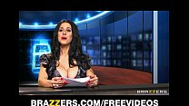 news anchor louise jensen is distracted at work by a huge cock