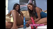 Black lesbian hottie fucked deep by sisters dildo
