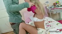 Petite Step-Sister Seduce to First Fuck and Fac...