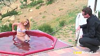 After getting wet Alice Bell enjoys banging