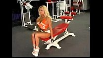 ashley lawrence fembomb pumping iron at the gym.