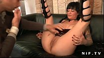 Big titted french milf hard double teamed thumb