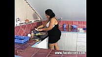 BBW fuck slut gets her pussy cocked in the kitchen
