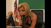 Busty teacher Kylee filling her pussy with a hu...