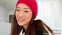 Bigcock loving asian teen facialized