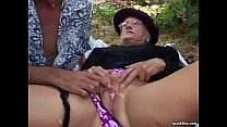 Granny fucked hard outdoor