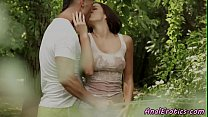 Anally screwed classy babe loves outdoor sex