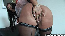 Sleazy moms in corset and stockings having solo...