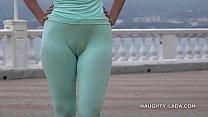 Cameltoe while jogging. thumb
