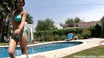 pool the by cock sucking kandi brunette petite milan