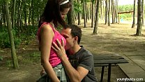 Busty brunette teen Rita gets fucked outdoors - download porn videos