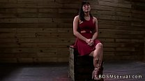 Busty chained Asian babe roughly throat and pus...