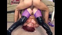 sex in black boots and purple fishnet pantyhose