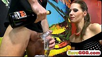 Dick hungry European babe sucks dicks until she...