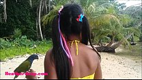 ameteur tiny thai teen heather deep day at the beach gives deepthroat throatpie swallow