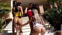 Gorgeous tanned teens play together outside