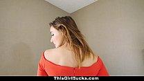 thisgirlsucks curvy babe orgasms from sucking cock