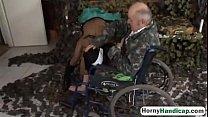 Amputee fucking brunette teen riding wheelchair... thumb