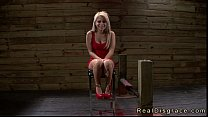 Bdsm blonde pussy and throat fucked by huge dick and fucking machine thumbnail